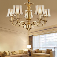 Continental chandelier living room Full copper lamp restaurant chandelier luxury living room chandel